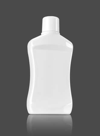 blank packaging mouthwash plastic bottle isolated on gray background with clipping path ready for product design