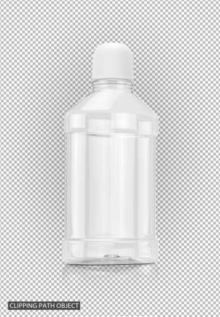 blank packaging mouthwash transparent plastic bottle on virtual transparency grid background with clipping path ready for product design