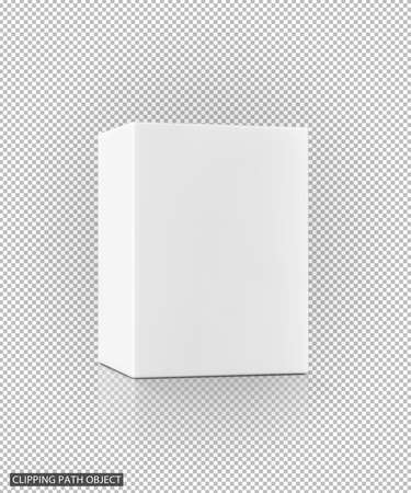 blank packaging white cardboard box on virtual transparency grid background with clipping path, ready for product design Stock Photo