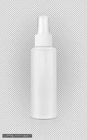 blank packaging cosmetic spray bottle on virtual transparency grid background with clipping path ready for product design Stock Photo