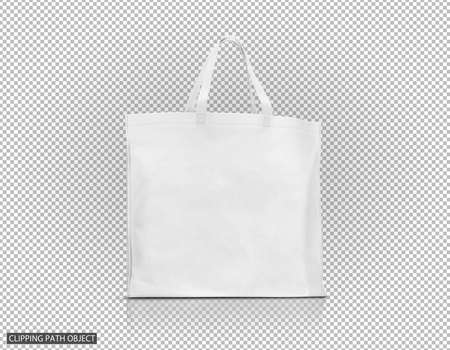 blank white fabric canvas bag for shopping and save global warming on virtual transparency grid background 写真素材