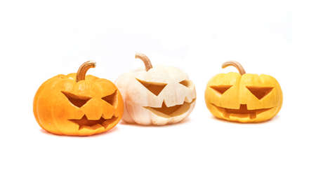 halloween pumpkin head isolated on white background for halloween party decoration