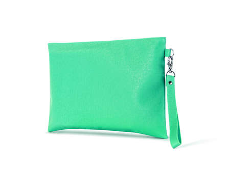 blank green leather premium handle bag with hanging isolated on white background with clipping path