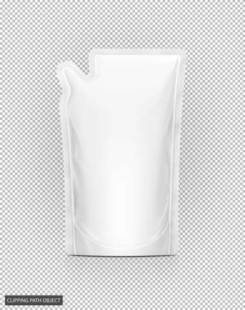 blank packaging white refill pouch isolated on virtual transparency grid background with clipping path ready for product design Reklamní fotografie