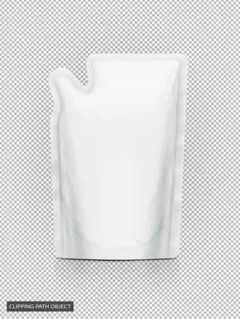 blank packaging white refill pouch isolated on virtual transparency grid background with clipping path ready for product design