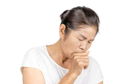 old asian woman with wrinkle and freckle coughing, bronchitis or asthma, healthy medical concept