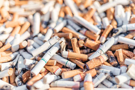 Cigarettes stub or many used tobacco butts with selective focus, World No Tobacco Day Concept