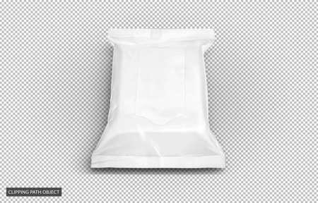 Embalaje en blanco Bolsa de toallitas para bebés de plástico blanco o bolsa de papel de seda aislada sobre fondo de cuadrícula de transparencia virtual con trazado de recorte listo para el diseño de productos cosméticos