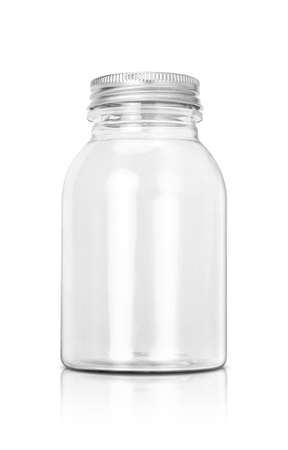 transparent plastic bottle with aluminum cover and clipping path isolated on white background