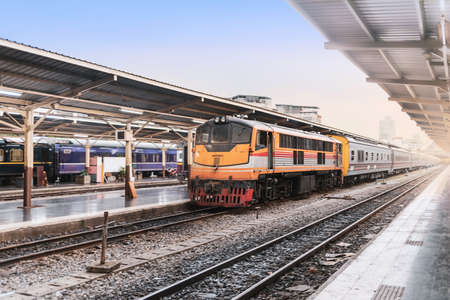 vintage train parking on train tracks at railway station wait for passenger Reklamní fotografie