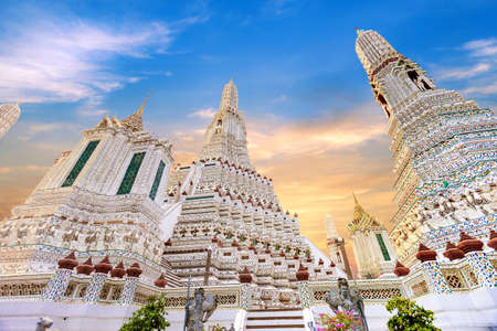 Wat Arun Temple of dawn, This is the famous beautiful arts culture and architecture landmark in Bangkok Thailand at the side of chao phraya river