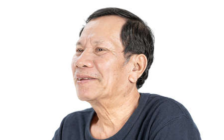 old wrinkled asian man portrait with good mood and wear navy blue T-shirt isolated on white background