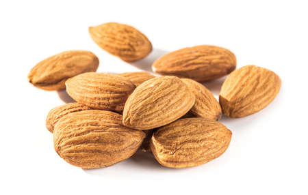 almond seeds isolated on white background, almond is the seed which has the highest protein organic food for healthy Stok Fotoğraf
