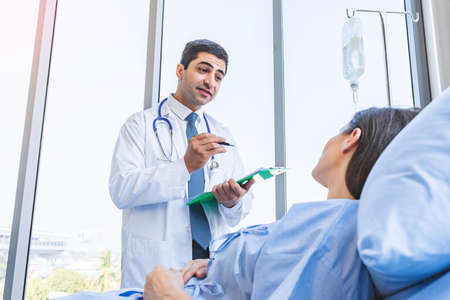 Doctor check-up and report examination for woman patient at hospital or medical clinic, Healthy and Medical concept
