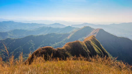 beautiful mountain in sunset at Thong Pha Phum National Park Kanchanaburi of Thailand name Khao Chang Phuak is the most popular for adventurist and trekker or hikers, travelling in amazing nature Stock fotó
