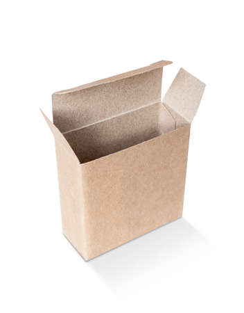 blank packaging opened kraft recycled paper box for product design mock-up isolated on white background Stock Photo