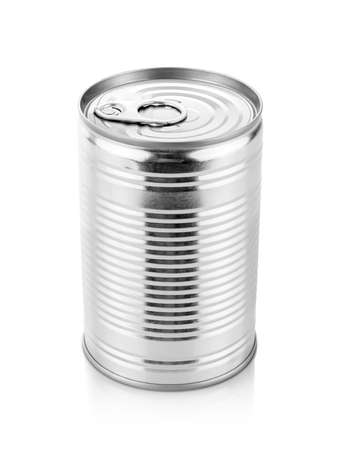 blank packaging metalic tin can for preserved product design mock-up isolated on white background Standard-Bild