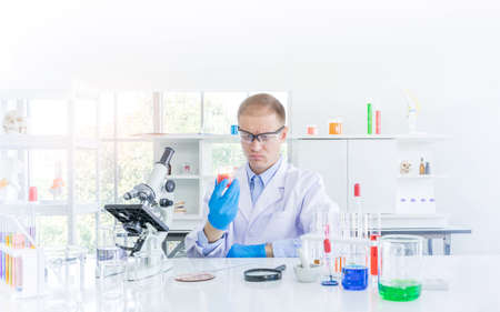 Scientist working or research for some confidential in chemical laboratory, Science and healthy or medical concept