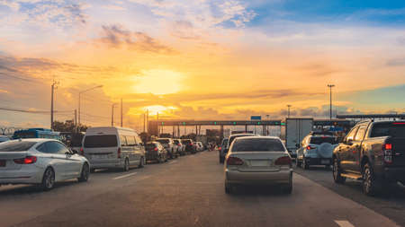 Express highway or toll way to bangkok with many cars in beautiful sunset, Thailand transportation 版權商用圖片