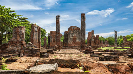 Ancient archaeological site at Ayutthaya Historical Park, Ayutthaya Province, Thailand.