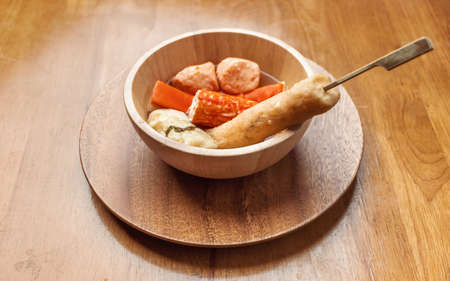 Oden is delicious Japanese traditional food it consist of fish dumplings and various other articles of food stewed in soy soup.