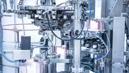 Industrial machinery in manufacture plant or factory, Smart factory or futuristic concept.