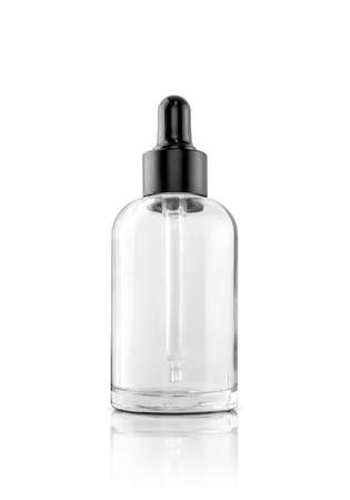 blank packaging transparent glass dropper serum bottle isolated on white background with clipping path ready for cosmetic product design mockup Foto de archivo