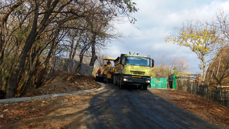 Road construction machinery in activity