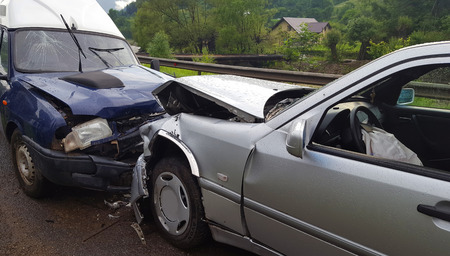 Front car accident Standard-Bild