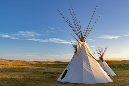 Two teepees representative of those used by the Blackfeet Indians on the Great Plains of Montana, USA.