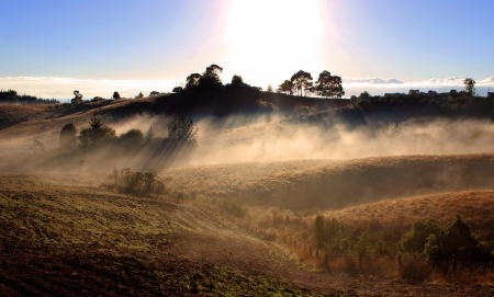 Misty Hills at Dawn Stock Photo - 22084412