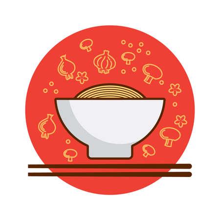 A bowl of noodles illustration