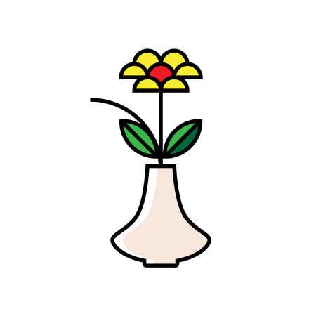 Flower and vase vector illustration
