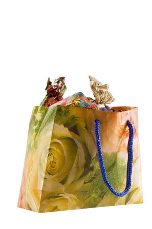 Gift - bag of candies isolated on white background photo
