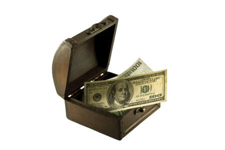 Antique chest and money, isolated on white photo
