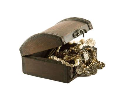 Antique treasure chest on white background Stock Photo - 2681449