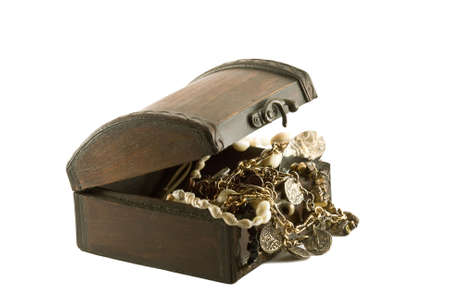 Antique treasure chest on white background photo