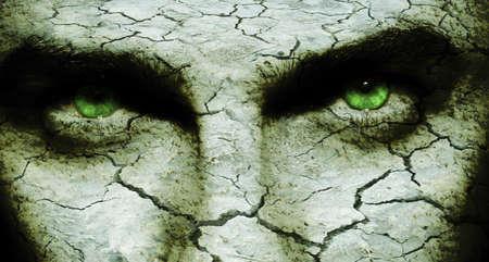 infierno: Agrietada y seca la piel a un hombre `s cara, con ojos diab�licos