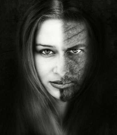 mujer fea: La Bella y la bestia - retrato inspirado en el famoso cuento