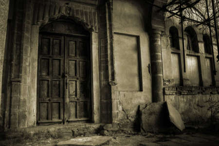 spooky house: Front of a creepy old house - vintage version