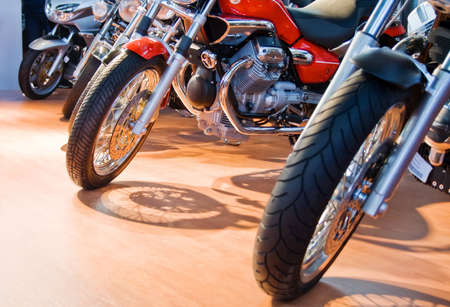Front of powerful motorcycles aligned for sale Stock Photo