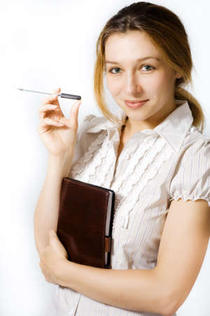 Portrait of young smiling businesswoman on white background photo
