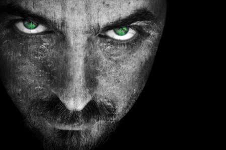 Close-up auf das Böse und Angst vor