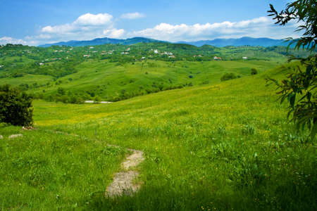 Green fresh hills and blue cloudy sky Stock Photo - 3767839