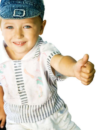 Cute kid with blue eyes showing ok sign, isolated on white photo