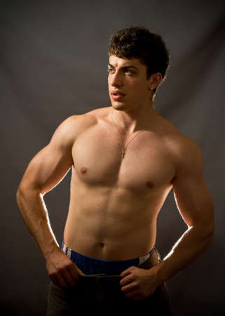 Portrait of sexy and muscular young man Stock Photo