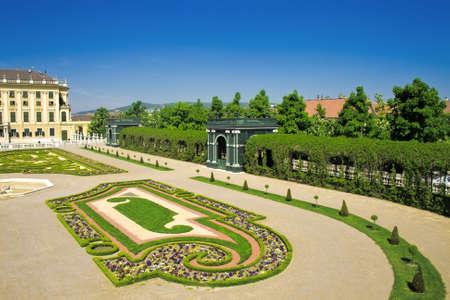 schonbrunn palace: Gardens of Schonbrunn palace, Vienna, Austria Stock Photo