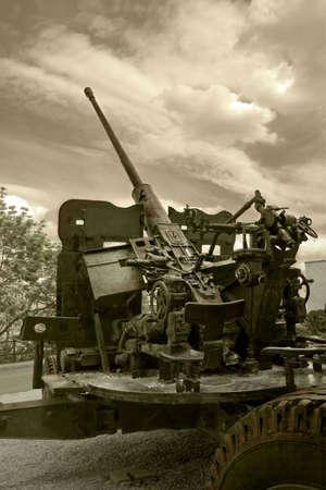 flak: Close view of flak - anti-aircraft war machine