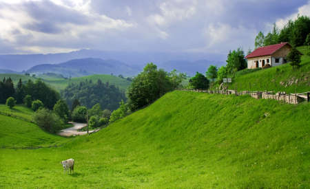 Amazing and peaceful landscape in a romanian village photo