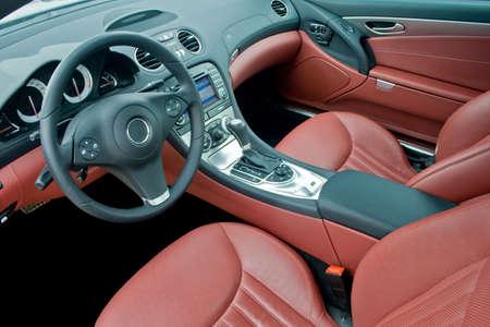 asiento: Interior de coche deportivo de lujo Foto de archivo